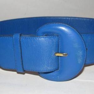 Gucci Cobalt Blue Leather Vintage Belt